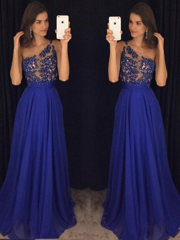 One-Shoulder Floor-Length Royal Blue Prom Dresses with Beading