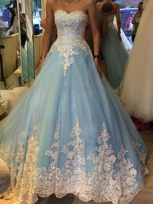 Ball Gown Sweetheart Sweep Train Blue Prom Dresses with Applique