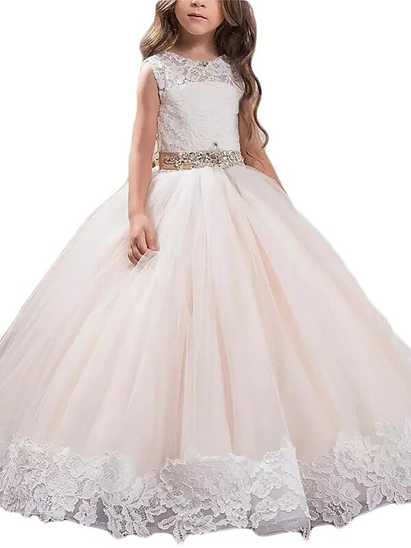 Ball Gown Tulle Scoop Floor-Length Flower Girl Dresses with Lace