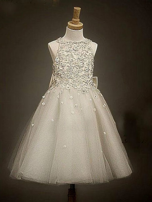 A-Line Scoop Ankle-Length Champagne Flower Girl Dresses